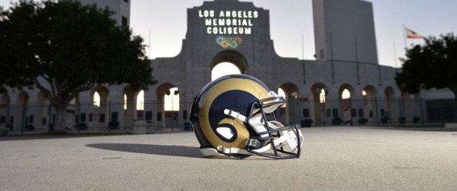Feb 25, 2016; Los Angeles, CA, USA; General view of Los Angeles Rams helmet at the peristyle end of the Los Angeles Memorial Coliseum. The Coliseum will serve as the home of the Los Angeles Rams for the 2016 season after NFL owners voted 30-2 to allow Rams owner Stan Kroenke (not pictured) to relocate the franchise from St. Louis. Mandatory Credit: Kirby Lee-USA TODAY Sports