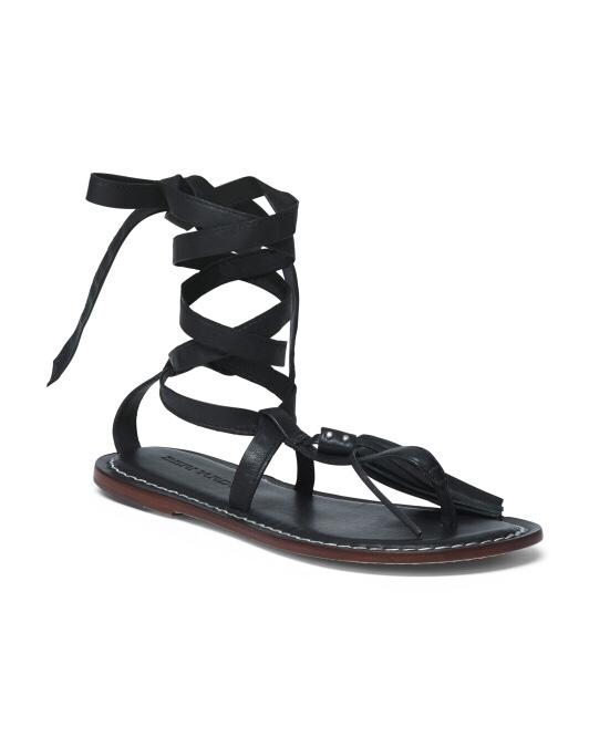 bernardo strappy ankle flat leather