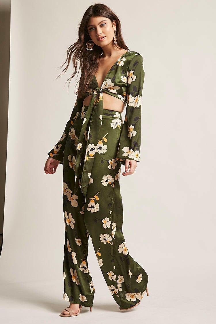f21 green crop pant suit