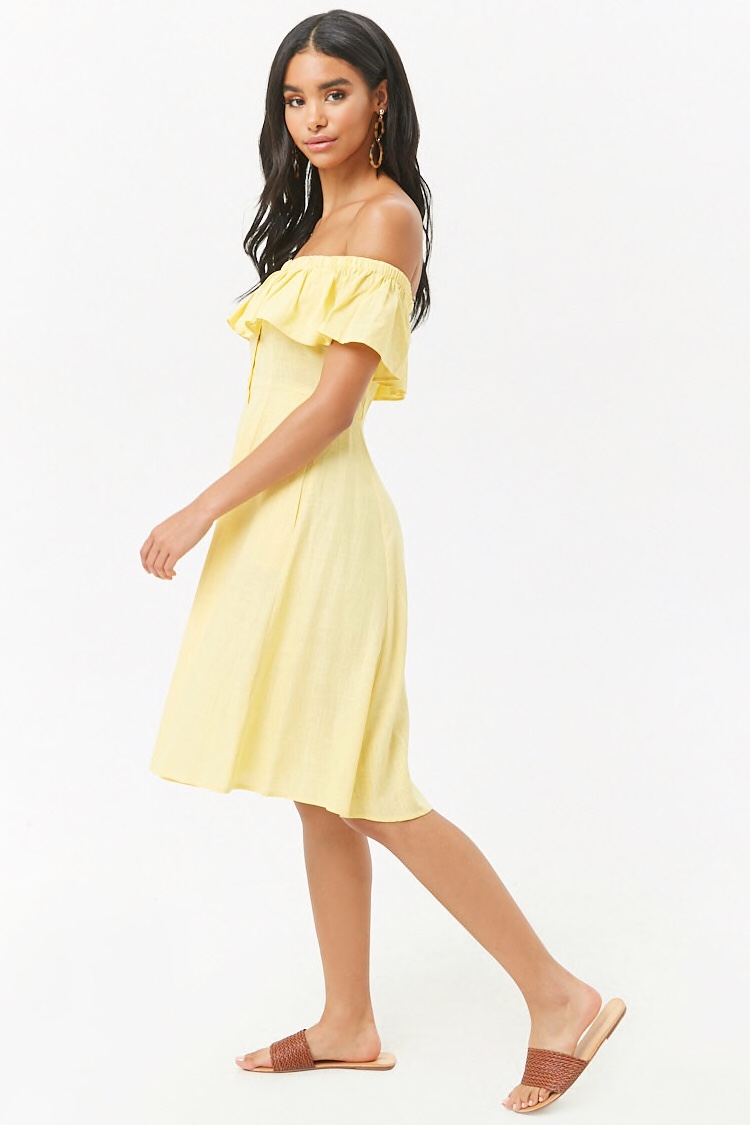 f21 off the shoulder yellow