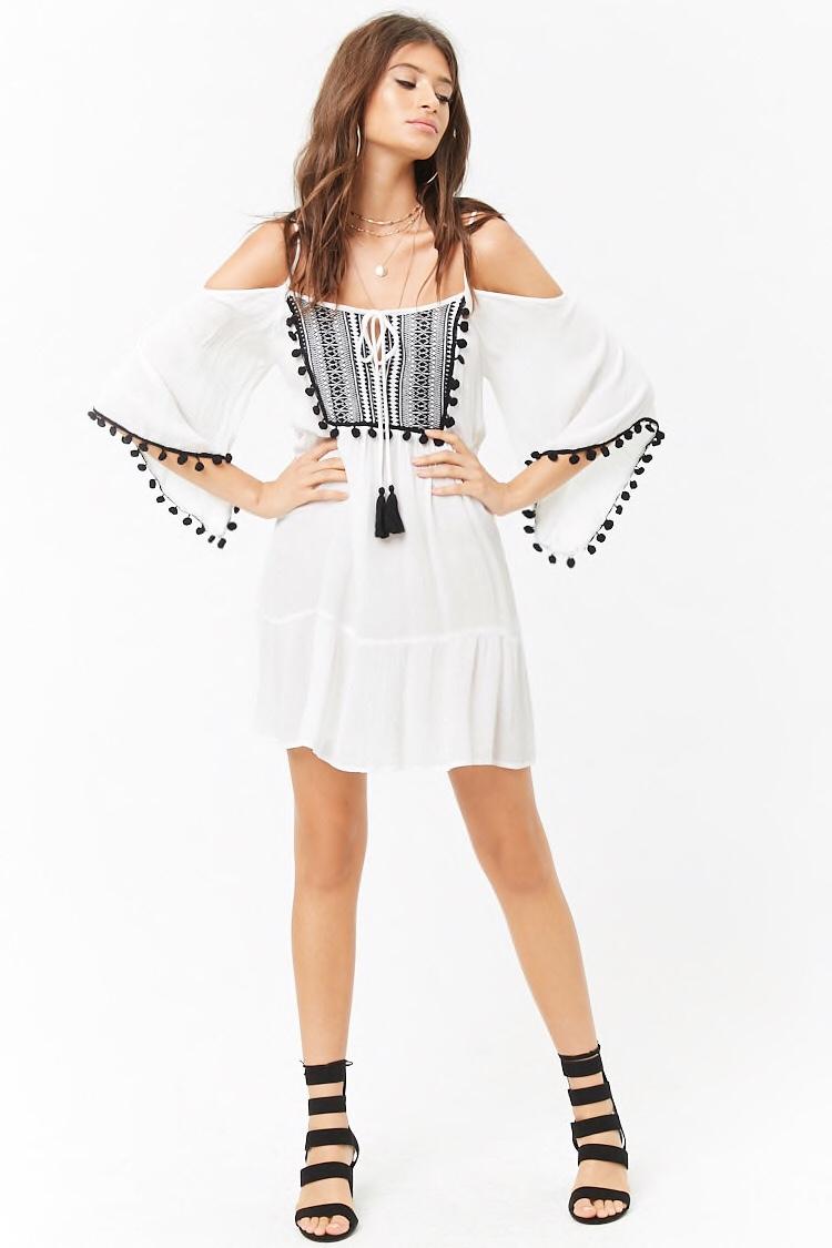 f21 pom pom dress